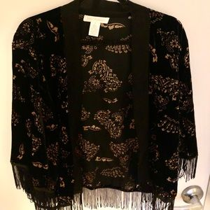 Band of Gypsies Sweaters - Band of Gypsies Fringe Velvet Cardigan